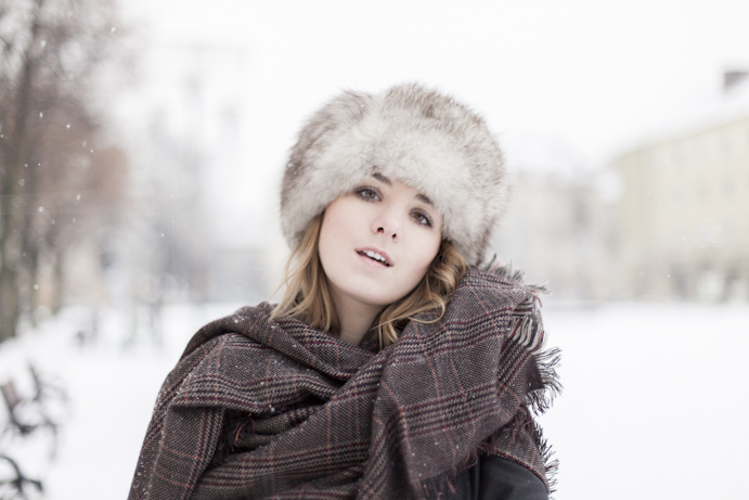 woman fur hat winter wonderland style elegance