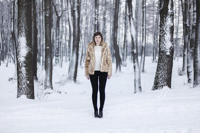 winter zima futro dziewczyna