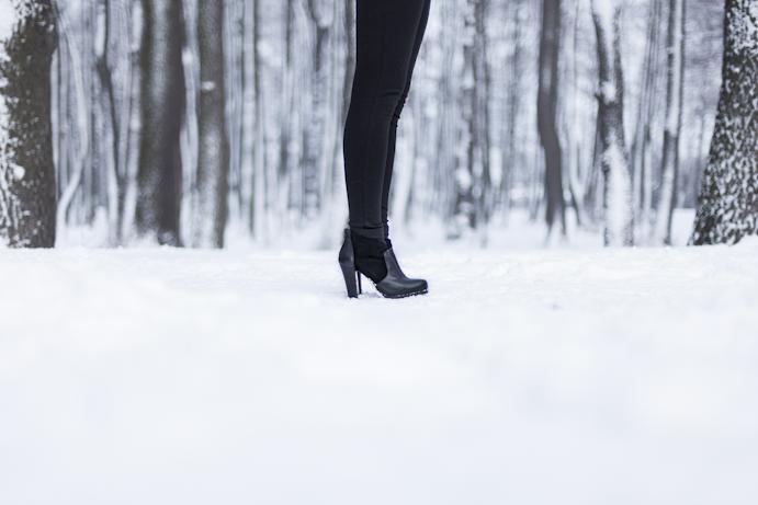 zima nogi buty śnieg czarny styl