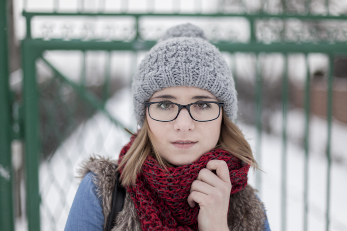 Girl in glasses beanie winter smile