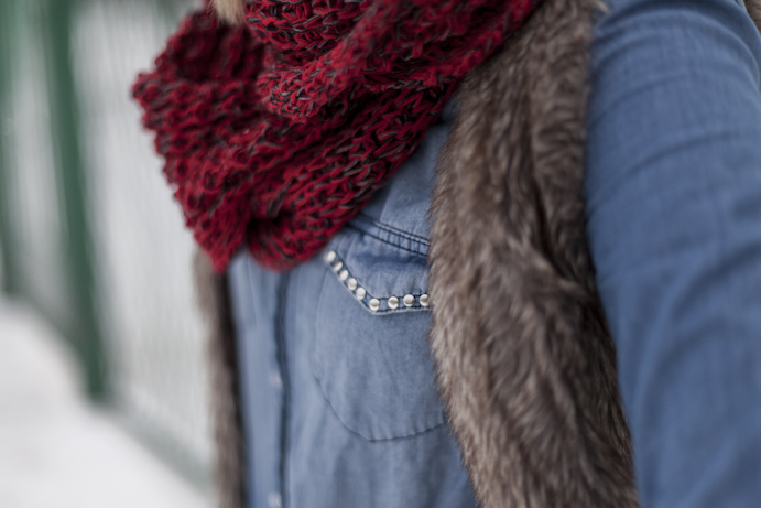 denim shirt and woolen accessories