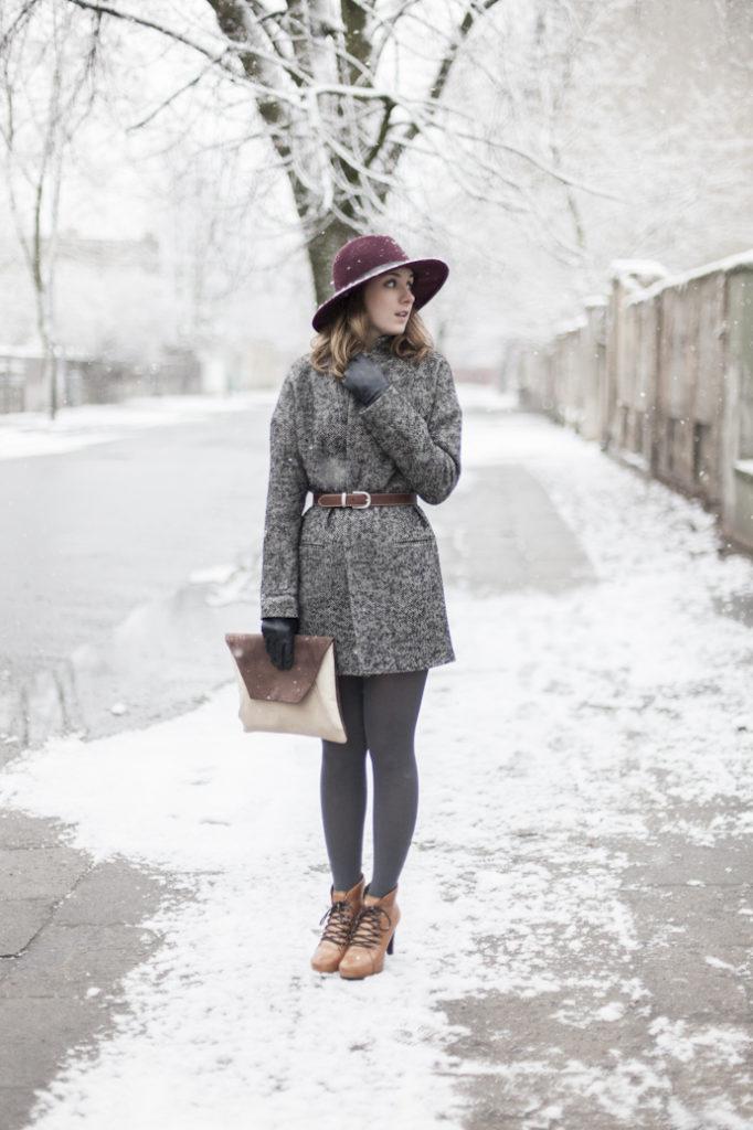 Płaszcz w męskim stylu zima kopertówka kapelusz