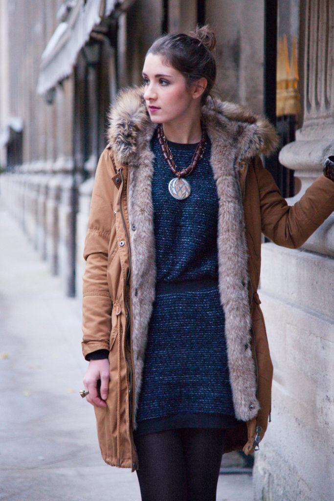 etnic jewelry fur woman dress parka