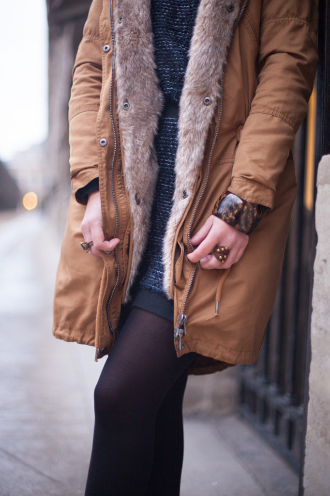 futrzana parka styl zima moda