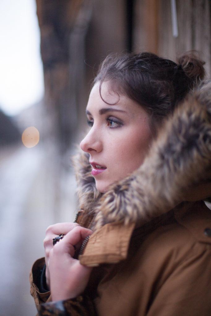 girl winter paris makeup happy