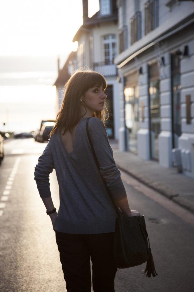 classic woman beauty street sunset bag sweater